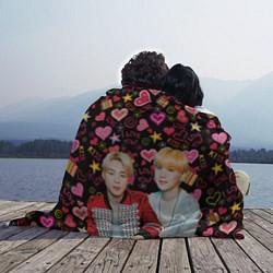 Плед флисовый BTS: Юнмины Чимин и Юнги цвета 3D-принт — фото 2