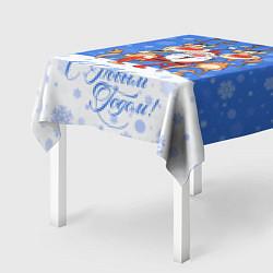 Скатерть для стола Санта Клаус с оленями цвета 3D — фото 2