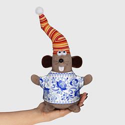 Игрушка-мышка Гжель 2 цвета 3D-серый — фото 1