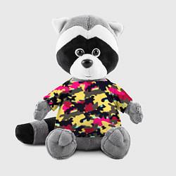 Игрушка-енот Камуфляж: желтый/черный/розовый цвета 3D-серый — фото 1