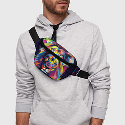 Поясная сумка Красочный лев цвета 3D-принт — фото 2