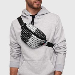 Поясная сумка Off-White: Black & White цвета 3D-принт — фото 2