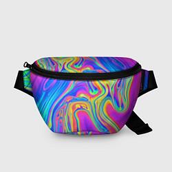 Поясная сумка Цветные разводы цвета 3D — фото 1