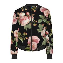 Бомбер женский TOP Roses цвета 3D-черный — фото 1