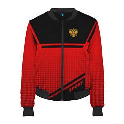 Бомбер женский Russia: Red Sport цвета 3D-черный — фото 1