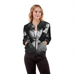 Бомбер женский Виктор Цой цвета 3D-черный — фото 2