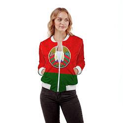 Бомбер женский Герб Беларуси цвета 3D-белый — фото 2