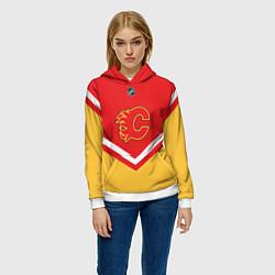 Толстовка-худи женская NHL: Calgary Flames цвета 3D-белый — фото 2