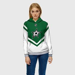 Толстовка-худи женская NHL: Dallas Stars цвета 3D-меланж — фото 2