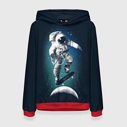 Толстовка-худи женская Космический скейтбординг цвета 3D-красный — фото 1