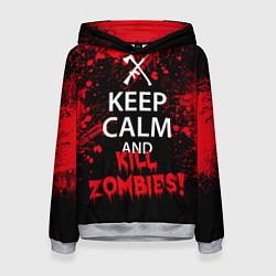 Толстовка-худи женская Keep Calm & Kill Zombies цвета 3D-меланж — фото 1