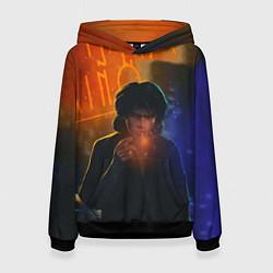 Толстовка-худи женская Виктор Цой в ночи цвета 3D-черный — фото 1