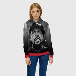 Толстовка-худи женская Ice Cube: Gangsta цвета 3D-красный — фото 2