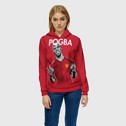 Толстовка-худи женская FC MU: Pogba цвета 3D-красный — фото 2