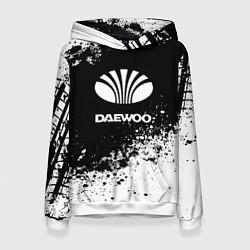 Толстовка-худи женская Daewoo: Black Spray цвета 3D-белый — фото 1