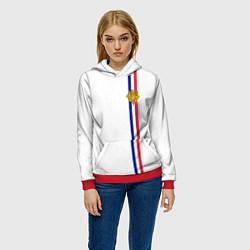 Толстовка-худи женская Франция: лента с гербом цвета 3D-красный — фото 2