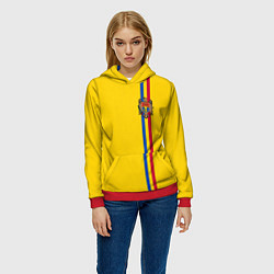 Толстовка-худи женская Молдавия: лента с гербом цвета 3D-красный — фото 2