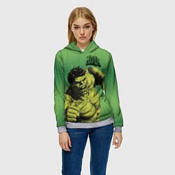 Толстовка-худи женская Hulk цвета 3D-меланж — фото 2