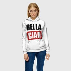 Толстовка-худи женская Bella Ciao цвета 3D-белый — фото 2