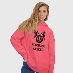 Толстовка оверсайз женская Dwarf Fighter - Fortune Seeker цвета коралловый — фото 2