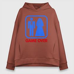 Толстовка оверсайз женская Game over цвета кирпичный — фото 1