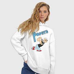 Толстовка оверсайз женская Popeye цвета белый — фото 2
