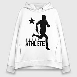 Толстовка оверсайз женская Лёгкая атлетика цвета белый — фото 1