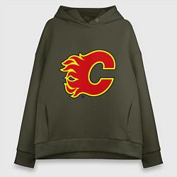 Толстовка оверсайз женская Calgary Flames цвета хаки — фото 1