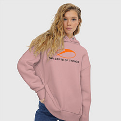 Толстовка оверсайз женская A State of Trance цвета пыльно-розовый — фото 2