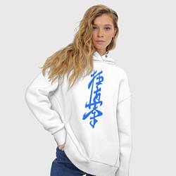 Толстовка оверсайз женская Киокушинкай: иероглиф цвета белый — фото 2