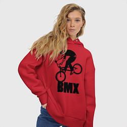 Толстовка оверсайз женская BMX 3 цвета красный — фото 2