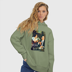 Толстовка оверсайз женская Twin Peaks Bar цвета авокадо — фото 2