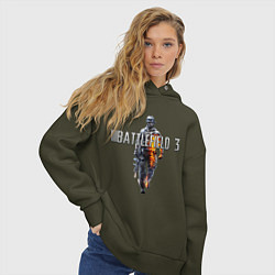 Толстовка оверсайз женская Battlefield 3 цвета хаки — фото 2