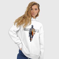 Толстовка оверсайз женская Battlefield 3 цвета белый — фото 2