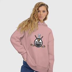 Толстовка оверсайз женская Edmonton Oilers Hockey цвета пыльно-розовый — фото 2