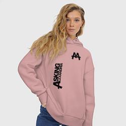Толстовка оверсайз женская Asking Alexandria Style цвета пыльно-розовый — фото 2