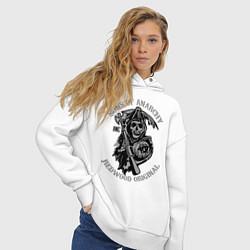 Толстовка оверсайз женская Sons of Anarchy: Redwood Original цвета белый — фото 2