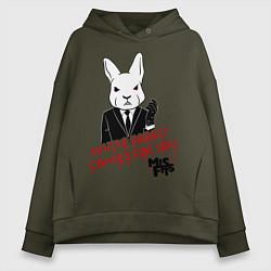 Толстовка оверсайз женская Misfits: White rabbit цвета хаки — фото 1