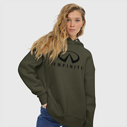 Толстовка оверсайз женская Infiniti logo цвета хаки — фото 2