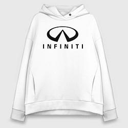 Толстовка оверсайз женская Infiniti logo цвета белый — фото 1