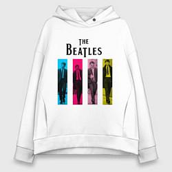 Толстовка оверсайз женская Walking Beatles цвета белый — фото 1