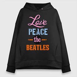 Толстовка оверсайз женская Love peace the Beatles цвета черный — фото 1