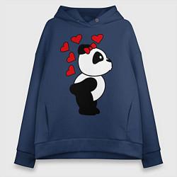 Толстовка оверсайз женская Поцелуй панды: для нее цвета тёмно-синий — фото 1