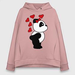 Толстовка оверсайз женская Поцелуй панды: для нее цвета пыльно-розовый — фото 1