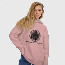 Толстовка оверсайз женская Bring me the horizon цвета пыльно-розовый — фото 2
