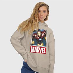Толстовка оверсайз женская Iron Man: Mark III цвета миндальный — фото 2