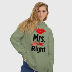 Толстовка оверсайз женская Mrs. always right цвета авокадо — фото 2