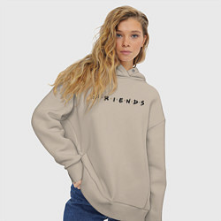 Толстовка оверсайз женская Logo Friends цвета миндальный — фото 2