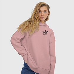 Толстовка оверсайз женская Всадник на коне цвета пыльно-розовый — фото 2