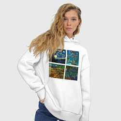 Толстовка оверсайз женская Ван Гог картины цвета белый — фото 2